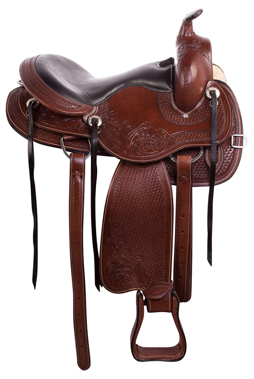 AceRugs Premium Brown Leather Western GAITED Horse Saddle TACK Set Bridle REINS Breastplate Pleasure Trail
