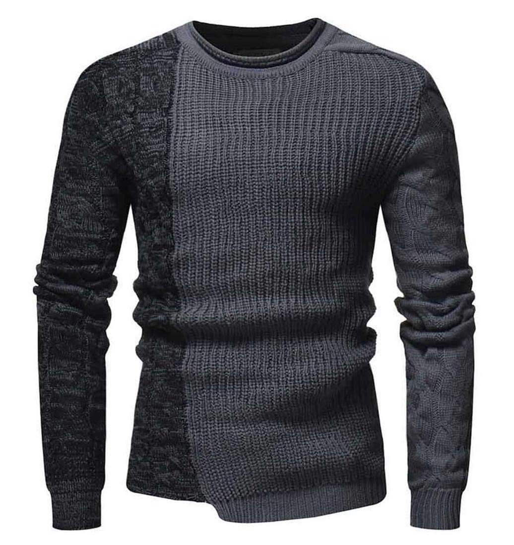 Domple Mens Slim Crew Neck Pullover Irregular Contrast Knitted Sweater Grey US XL