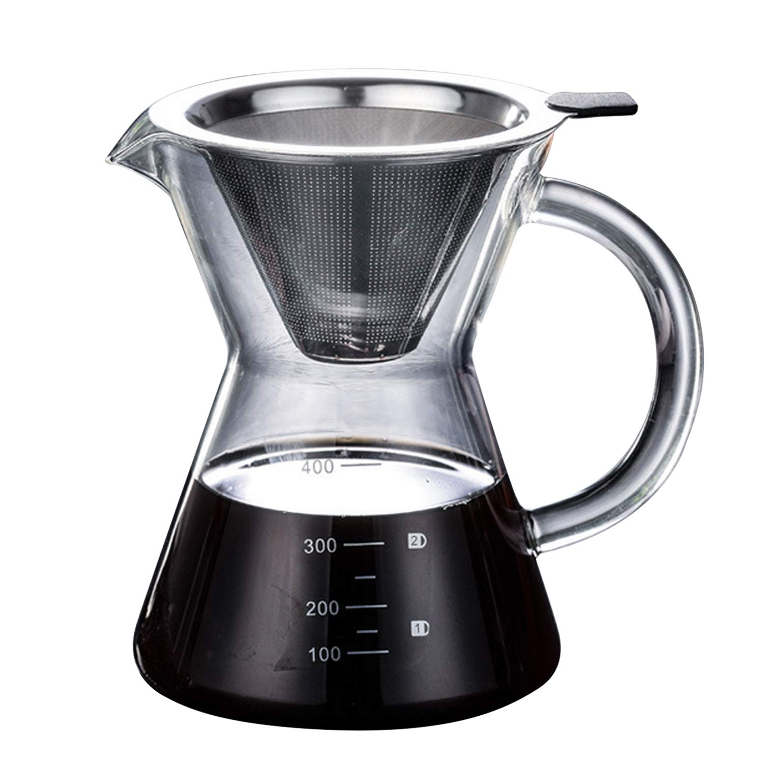 Coffee Maker, Glass Coffee Maker 400ml Large Capacity Heat Resistance High Boron Glass Pour Over Coffee Maker with Filter for Home Office Camping Apartment