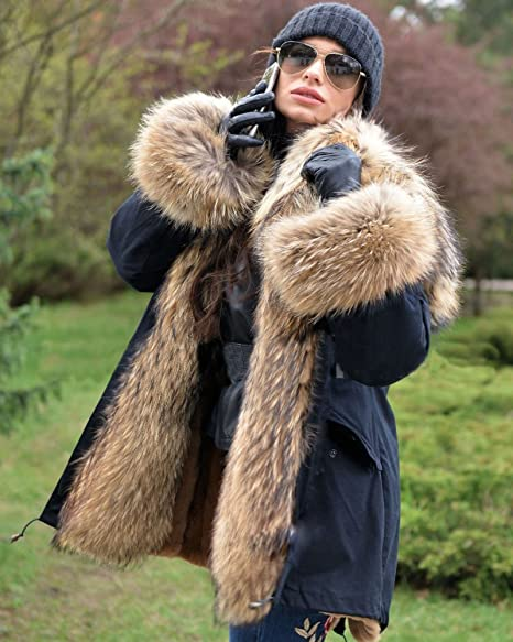 con capucha para invierno estilo casual parka Aofur Abrigo de piel sint/ética para hombre