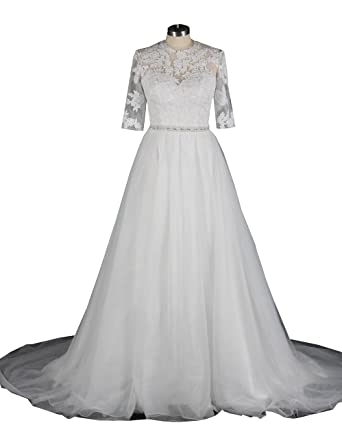 Womens Half Sleeves Lace Wedding Dresses Tulle Simple A Line Bridal