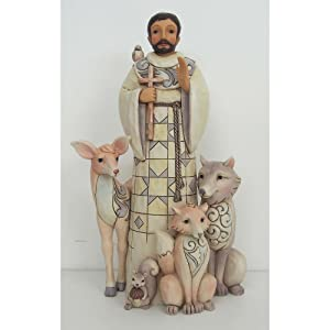 Enesco Heartwood Creek White Woodland St. Francis Stone Resin Figurine