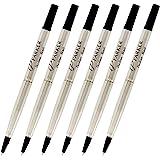 Parker Quink Ink Roller Ball Pen Refills, Medium Point, Black Ink, Pack of 6