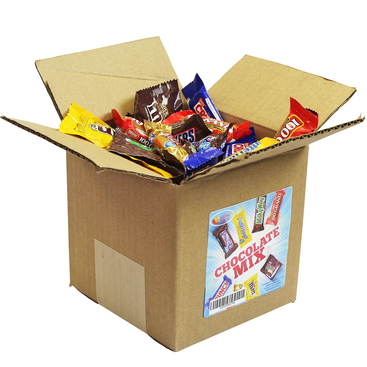 Chocolate Variety Pack - Fun Size Candy - All Your Favorite Chocolate Bars Including M&M, Snickers, Twix and More In 6x6x6 Bulk Box, 3.2 LB by A Great Surprise (Image #2)