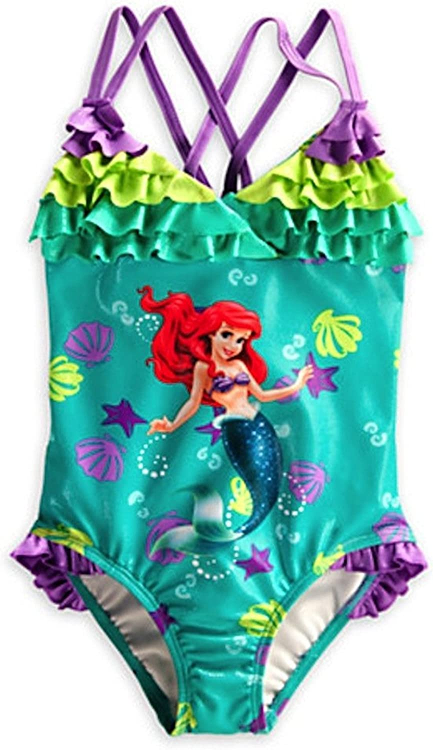Disney Store Deluxe Ariel The Little Mermaid Trikini Swimsuit Size Medium 7-8