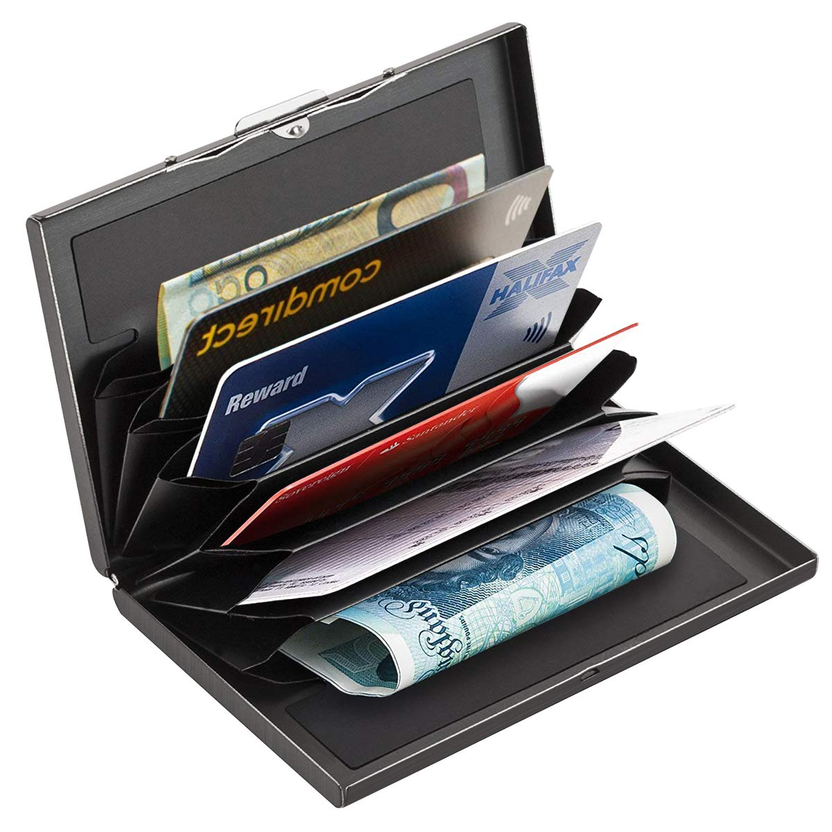 Slim RFID Credit Card Protector Wallet with 6 Card Slots, Block Identity Thieves, Portable Travel Identity ID/Credit Card Safe Protection Stainless Steel Aluminum Metal Card Holder Hard Case GREHOME