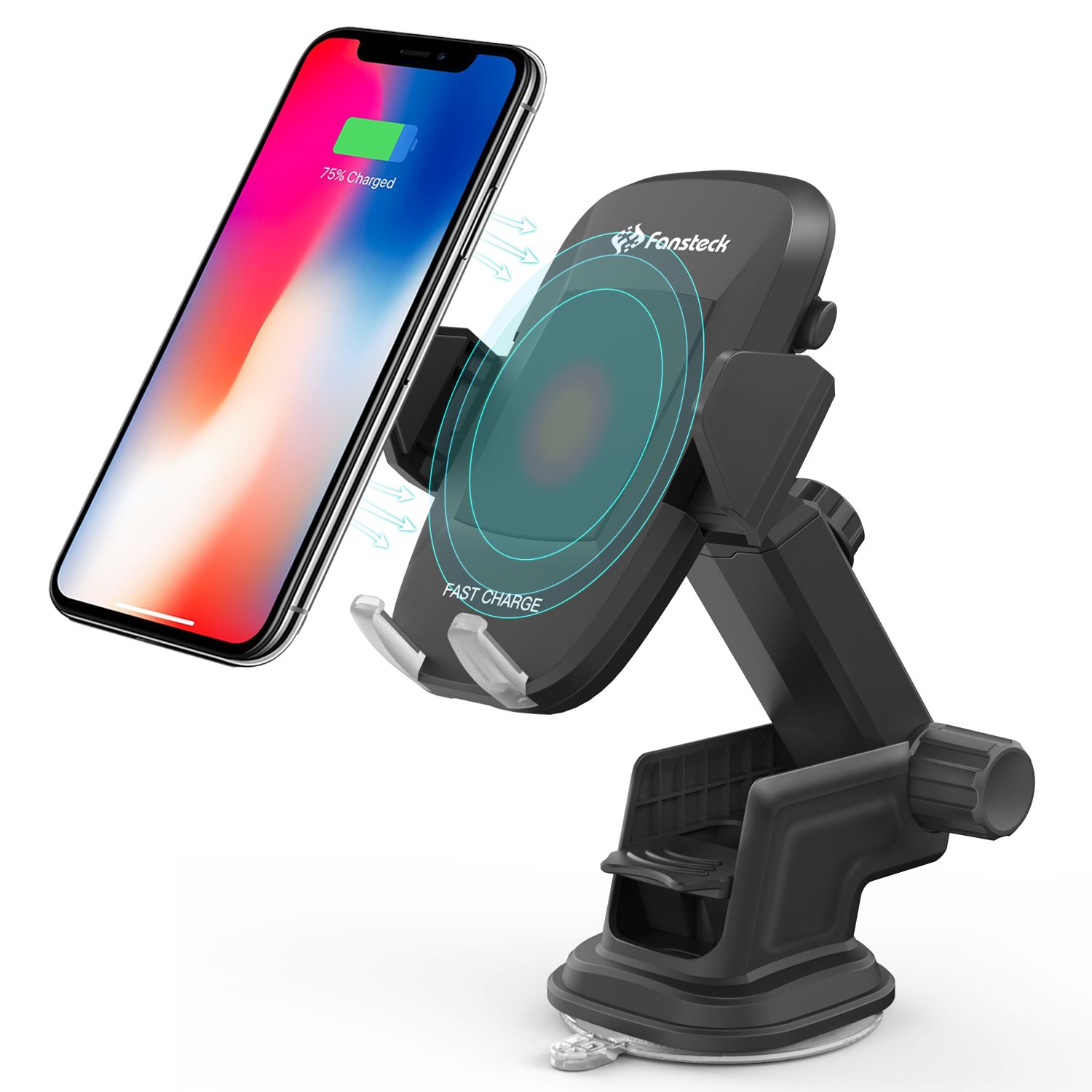 Wireless Car Charger, Fansteck Car Mount Charger with Fast Charger, Phone Holder with Multiple Installation for iPhone X/iPhone 8/8 plus, Samsung Galaxy S9/S9 Plus/Note 8 and other QI Enabled Phones