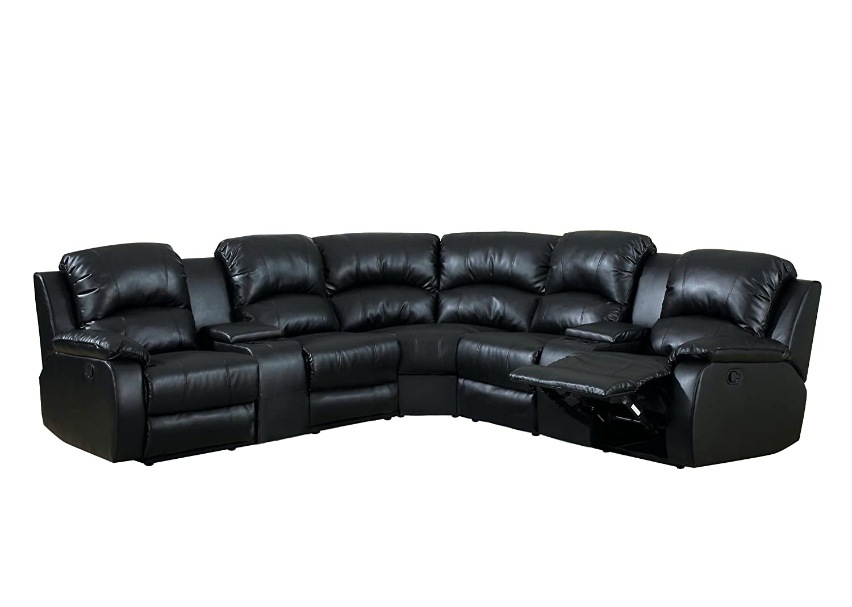 Amazon.com: Furniture of America Conan Bonded Leather Match ...