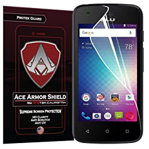 BLU Dash L2 (2-Pack) Ace Armor Shield CASE FRIENDLY Screen Protector Clear Anti-Bubble Shield with free lifetime replacement