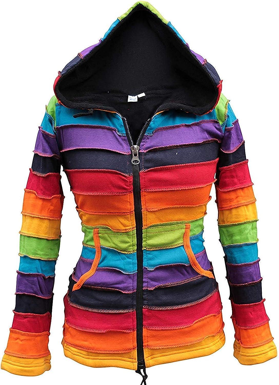 TALLA L. Chaqueta Shopoholic con forro polar y capucha, color arcoíris