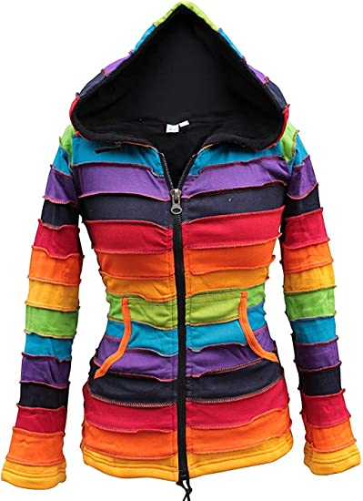 Hippie Rainbow Hoodie Fleece Lined Warm Winter Stripe Nepal Handmade Cozy Jacket