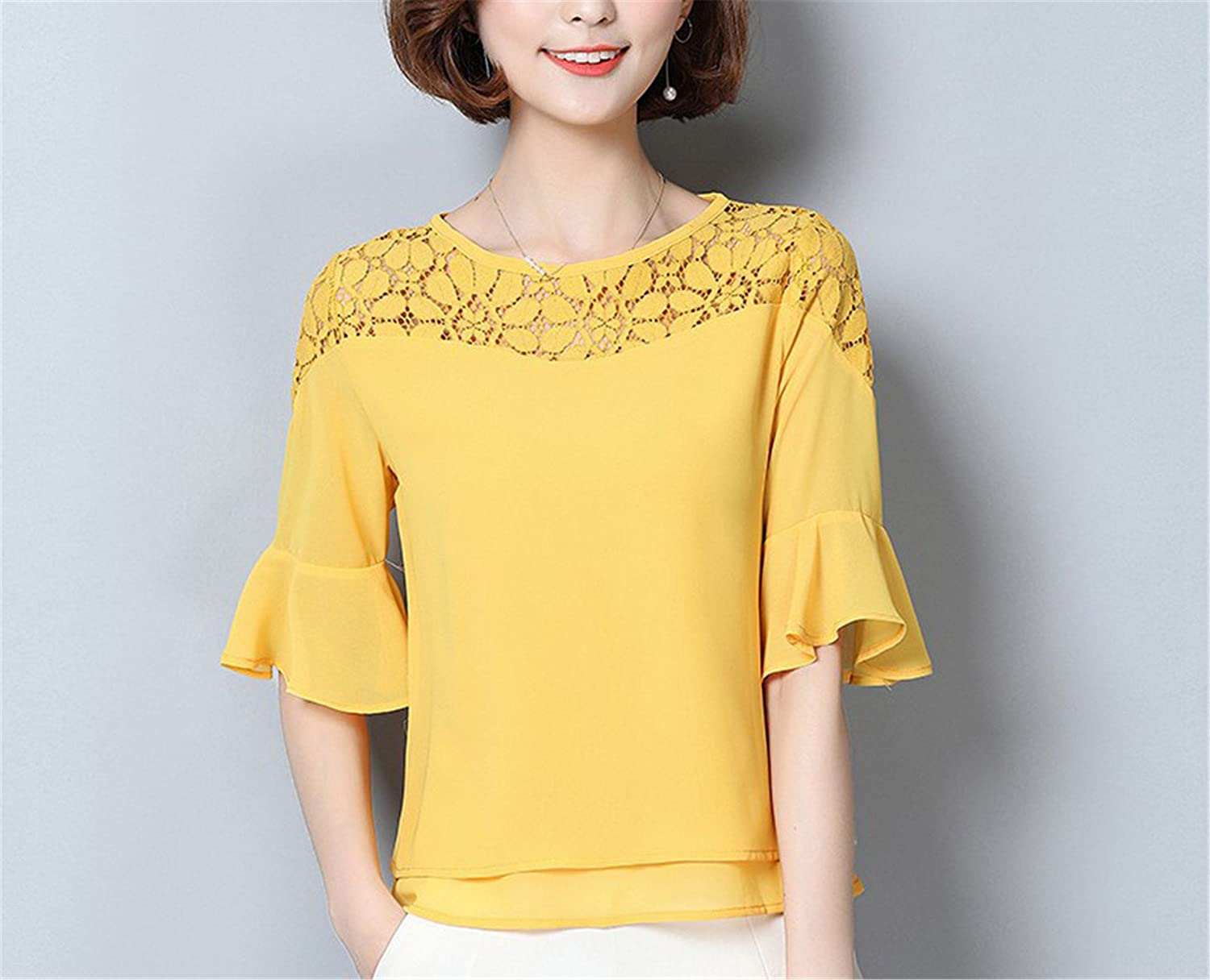 OUXIANGJU Women Summer Chiffon Blouse Short Sleeve Patchwork White Lace Tops Plus Size Shirts at Amazon Womens Clothing store: