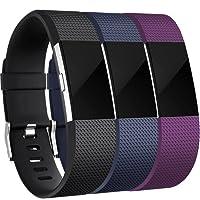 HUMENN Correa para Fitbit Charge 2, Edición Especial Deportes Recambio de Pulseras Ajustable Accesorios para Fitbit Charge 2 Grande Pequeño, 3 Paquetes
