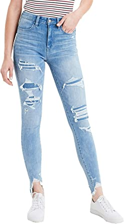 Amazon Com American Eagle Pantalones Vaqueros Para Mujer 360 Ne X T Nivel Super Alta Cintura Jegging Jeans Icy Repair 16 Normal Clothing