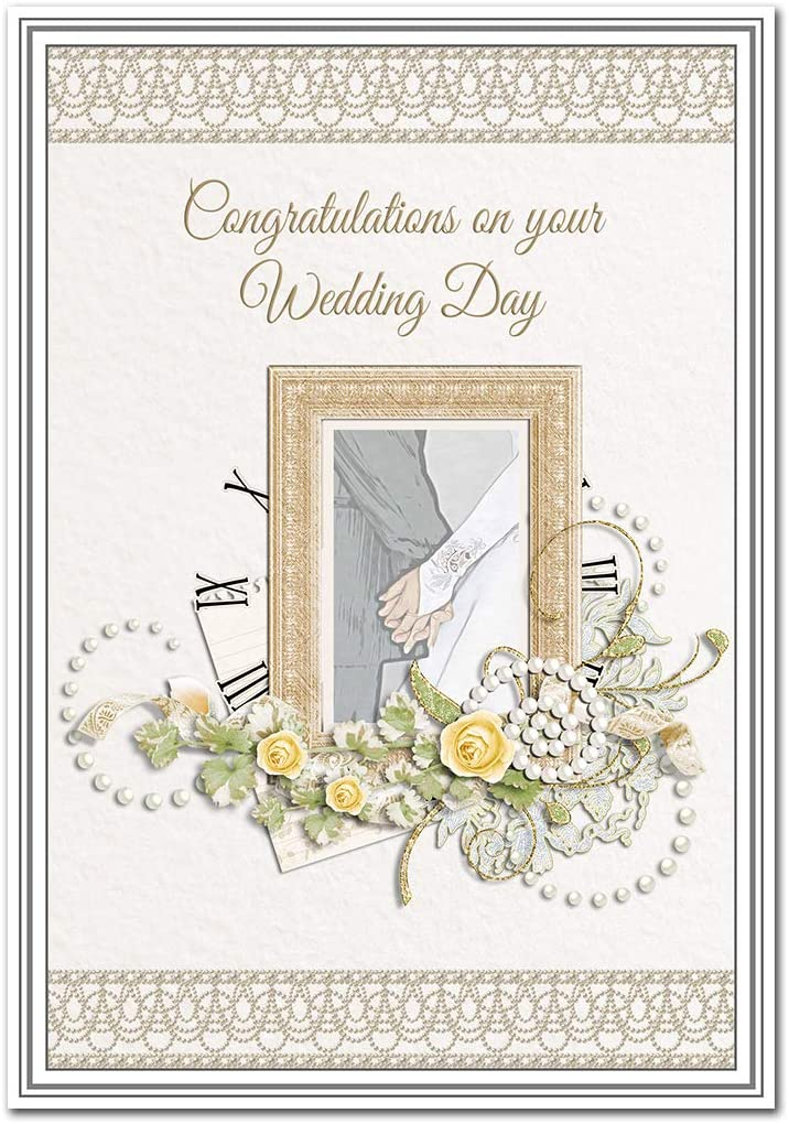 Wedding Card Congratulations Extra Special Wedding Day Wishes Marriage Keepsake Blank Inside To Write Own Message Unusual Beautiful Greeting Best Quality Picture Roses Pearls Theme Amazon Co Uk Office Products