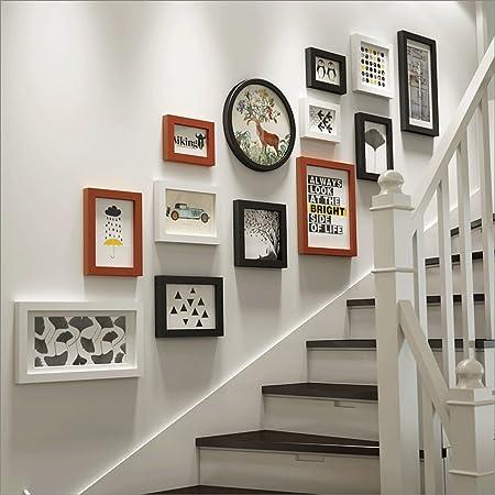 Marcos de Fotos Escalera Foto Pared Salón Comedor Dormitorio Entrada Sofá Fondo Pared 13 Cuadro Foto Marco Combinación (Color : 1#): Amazon.es: Hogar