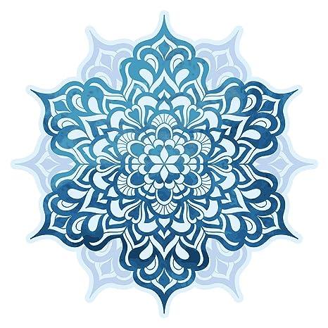 Pegatina de pared Salón Flor de mandala en matices azules Mural para pegar India florituras ornamentación Marruecos bordadoras flores yoga es ...
