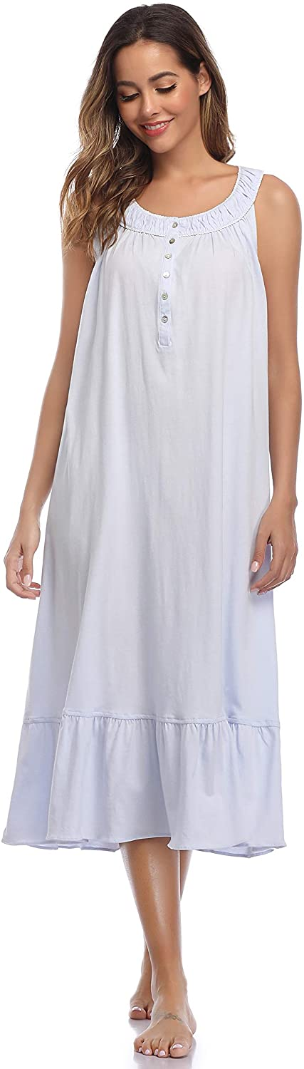 Vintage Lingerie | New Underwear, Bras, Slips IZZY + TOBY Womens Cotton Nightgown Long Soft Comfy Sleeveless Solid Sleepwear Scoopneck Chemise Full Nightdress $19.99 AT vintagedancer.com