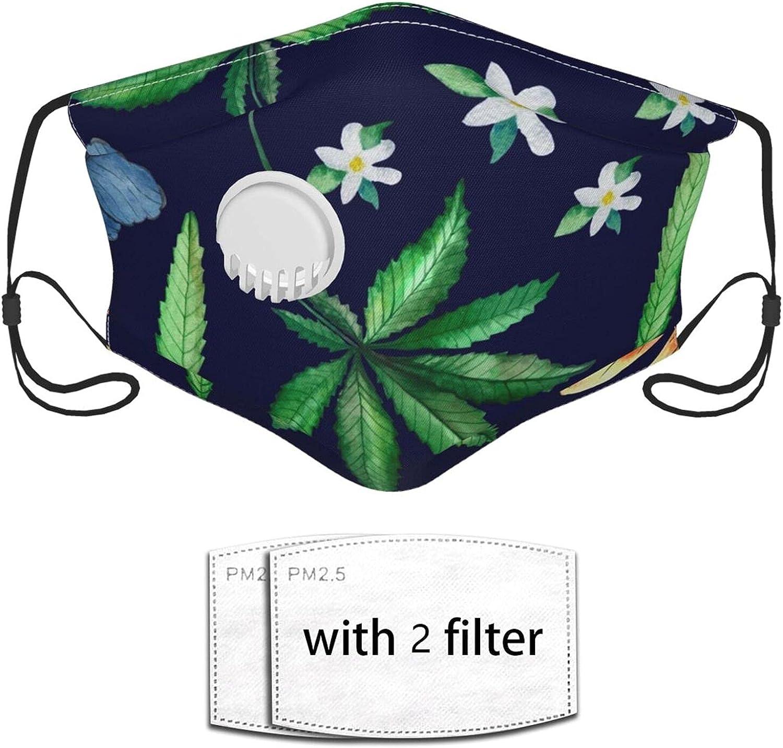 Nicegift Mascarilla Facial Reutilizable,Green Spice Hemp Leaf Plant con válvula de Aire y aretes Ajustables,Adecuado para Uso público en Exteriores Gorra Balabalava de 2 filtros