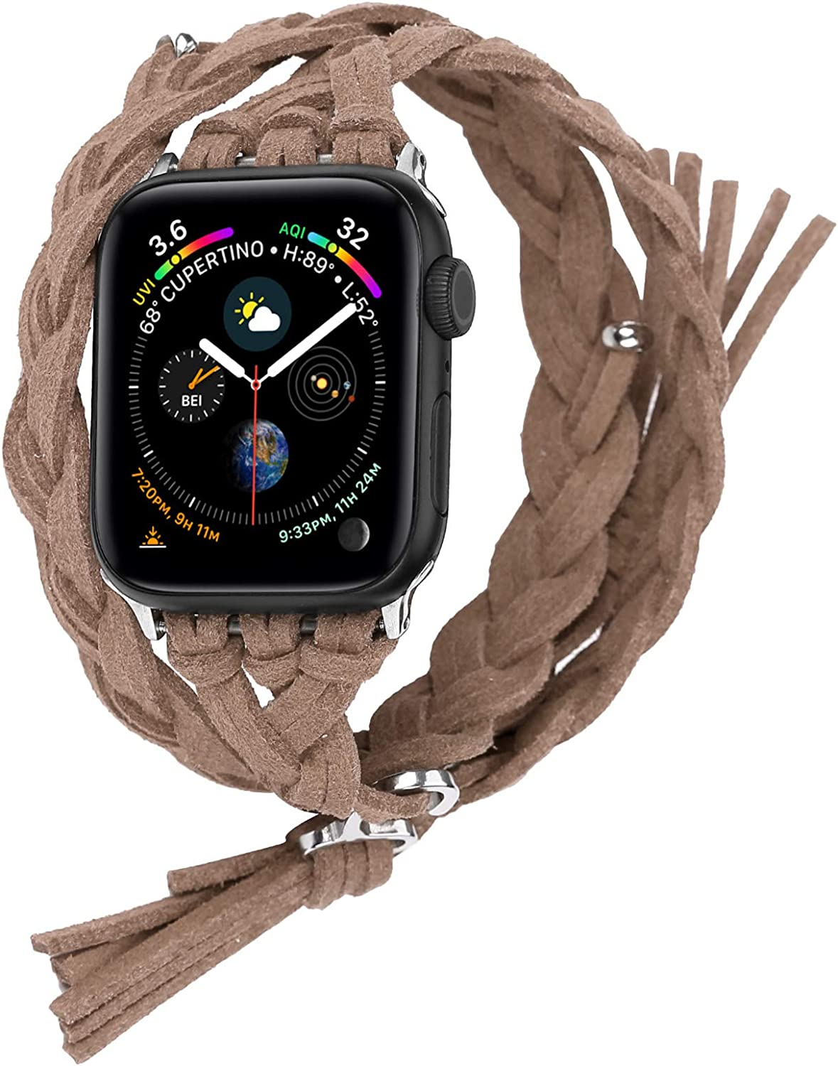 Compatible with Apple Watch Band 38mm 42mm 40mm 44mm, Woven Leather Smart Watch Strap Handmade Double Tour Bracelet Replacement for iWatch Series 5 4 3 2 1 Vintage Band 42mm/44mm, Brown