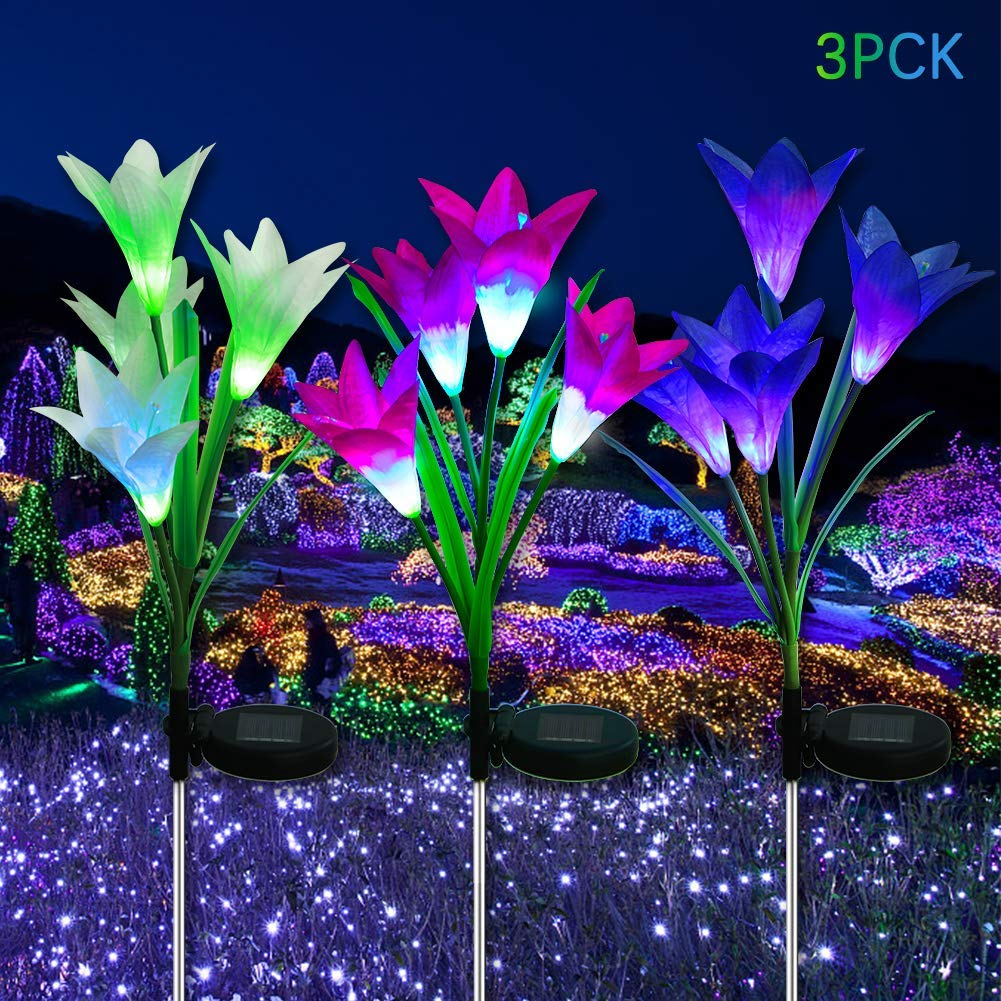 LED Solar Garden Flower Lights Outdoor - 3 Pack with 12 Lily Flowers, Solar Flower Lights, Multi-Color Changing LED Solar Decorative Lights Garden, Patio, Backyard