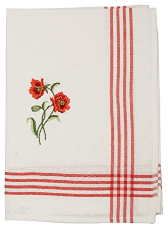 6 pieza bordado paño blanco de flores de amapolas Set 70 x 50 cm Piqué algodón Cotton Toallas de mano de cocina paños seco toalla de cristal FA. bowatex: ...