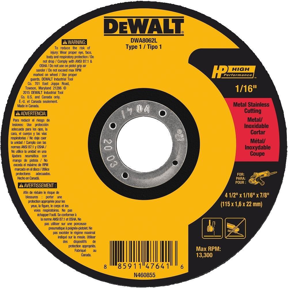 DEWALT DWA8062L T1 HP Long Life Cut-Off Wheel, 4-1/2'' x 1/16'' x 7/8''
