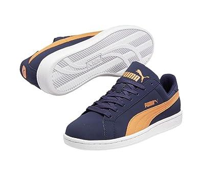 56f7b798df1b6 PUMA Womens Smash Buck Peacoat/Vermillion Orange Sneaker 8.5 D - Wide