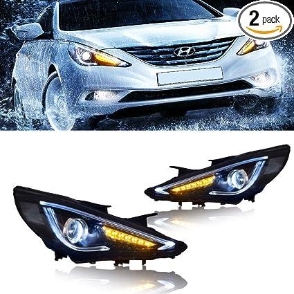 Mostplus Headlight Led Drl Headlights Lamp For Hyundai Sonata 2011 2012 2013 2014 Set Of 2