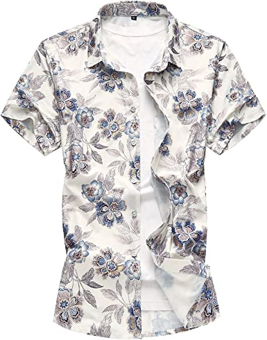 WanYangg Hombre Hawaianas Vintage Camisas Manga Corta Camisa Tropical Camisa Verano de Flores Camisas Casuales de Fiesta tee Tops Hawaiana Estampadas Azul 7XL: Amazon.es: Ropa y accesorios