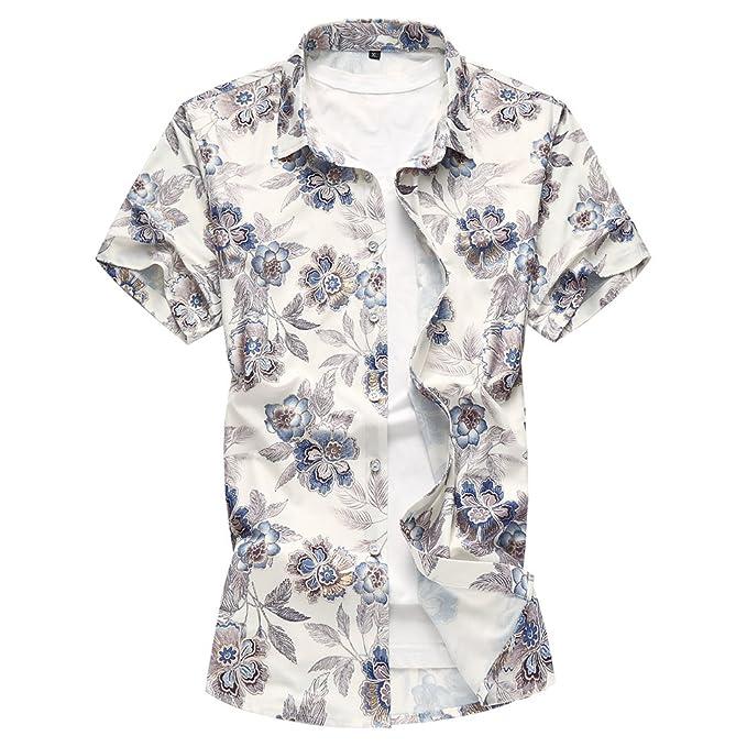 WanYangg Hombre Camisas de Verano Hawaianas Manga Corta Vintage Camisa  Estampado Floral Casual Camisas Tropicales Top 66e3d6cb56856