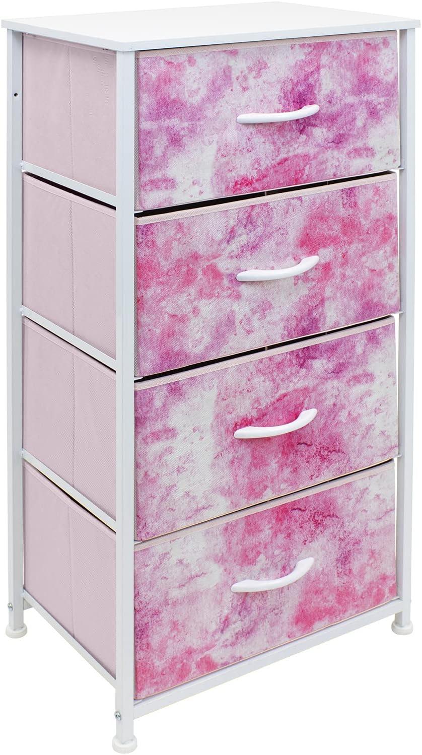 Sorbus Dresser Storage Tower, Organizer Drawers for Closet Boys & Girls Bedroom, Bedside Furniture, Chest for Home, College Dorm, Steel Frame, Wood Top, Tie-dye Fabric Bins(4-Drawer, Pink)