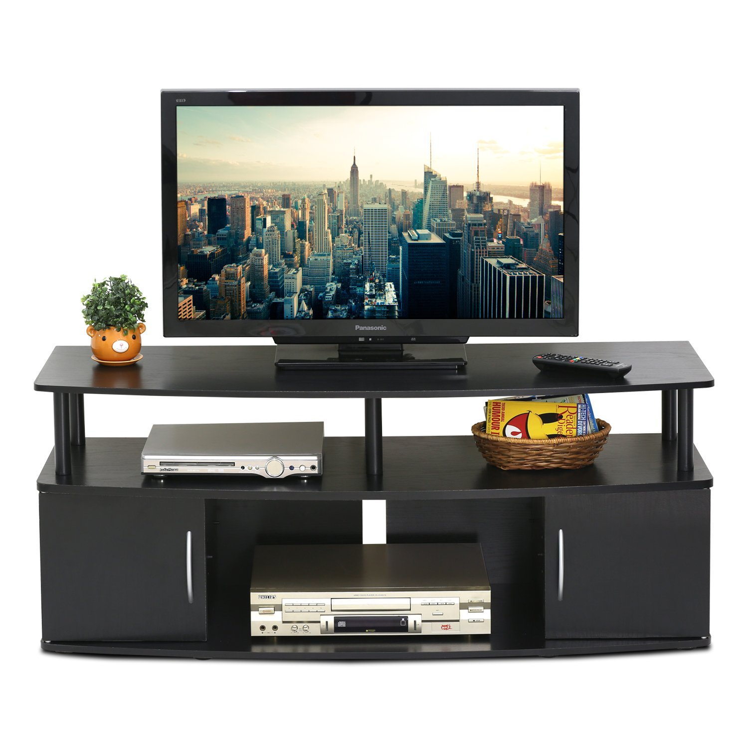 Amazon FURINNO Furinno JAYA Large Entertainment Center Hold Up To 50 IN TV 15113BKW Kitchen Dining
