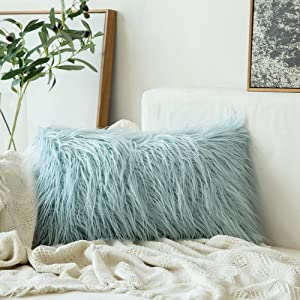 MIULEE Decorative New Luxury Series Style Light Blue Faux Fur Throw Pillow Case Cushion Cover for Sofa Bedroom Car 12 x 20 Inch 30 x 50 cm