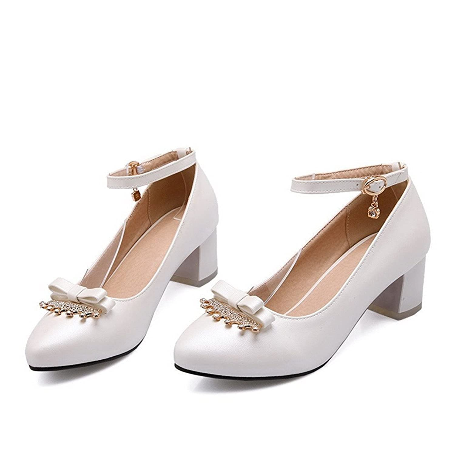 Yingzuzeng Womens Buckle Pointed Closed Toe Kitten Heels Solid Pumps-Shoes Fashionable