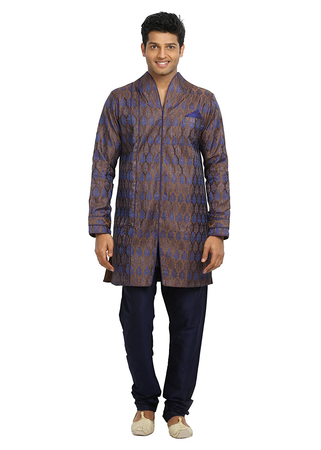 Saris and Things Chocolate Blue Trendy Indian Wedding Kurta Pajama for Men RK4080SNT-P