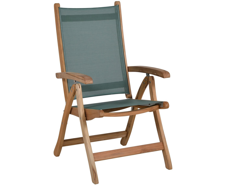 teakholz hochlehner miami mit gr nem outdoorgewebe klappstuhl g nstig kaufen. Black Bedroom Furniture Sets. Home Design Ideas