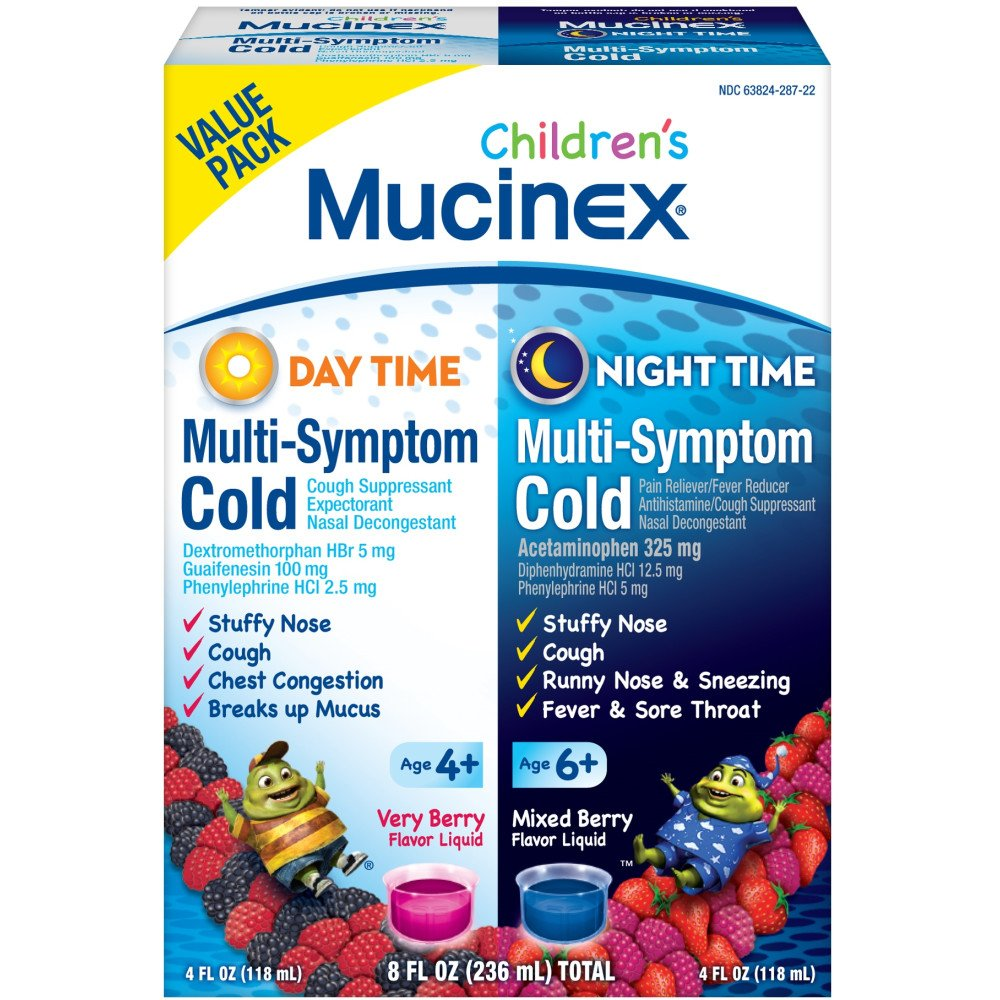 Mucinex Children's Multi-Symptom, Day/Night Liquid, Berry, 8oz by Mucinex