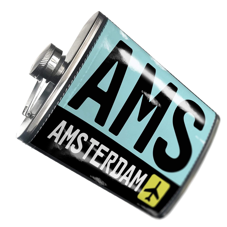 8オンスフラスコステッチAirportコードAMS /アムステルダム国:アメリカステンレススチール – Neonblond   B00QQVG7WC