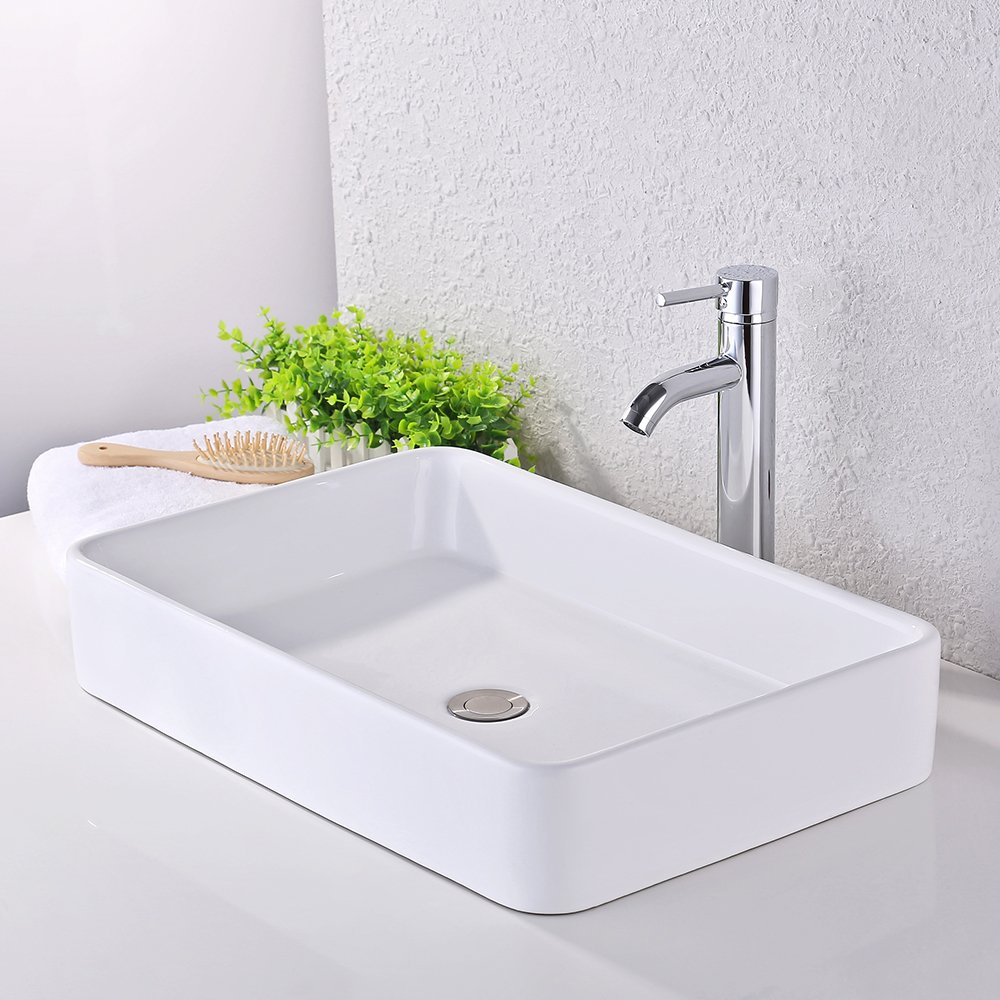 KES Bathroom Sink, Vessel Sink 24 Inch Porcelain Rectangular White Above Counter for Lavatory Vanity Cabinet Contemporary Style, BVS113 by Kes