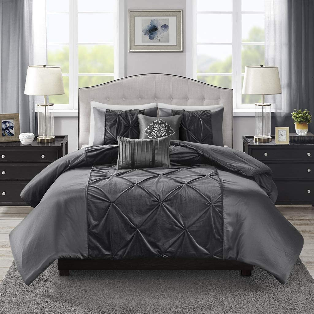 Madison Park Mia Faux Velvet 5 Piece Comforter Set Grey Queen
