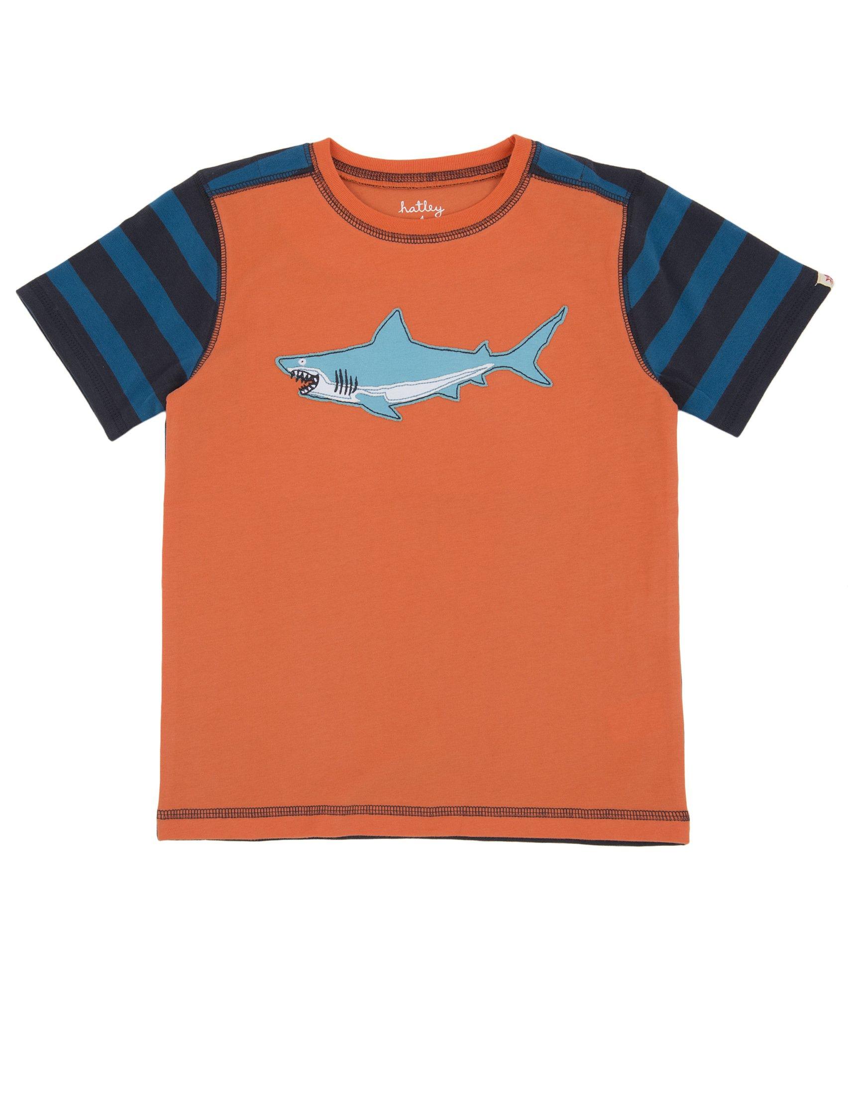 Hatley Little Boys' Boys Applique Tee Shark, Orange, 4T by Hatley