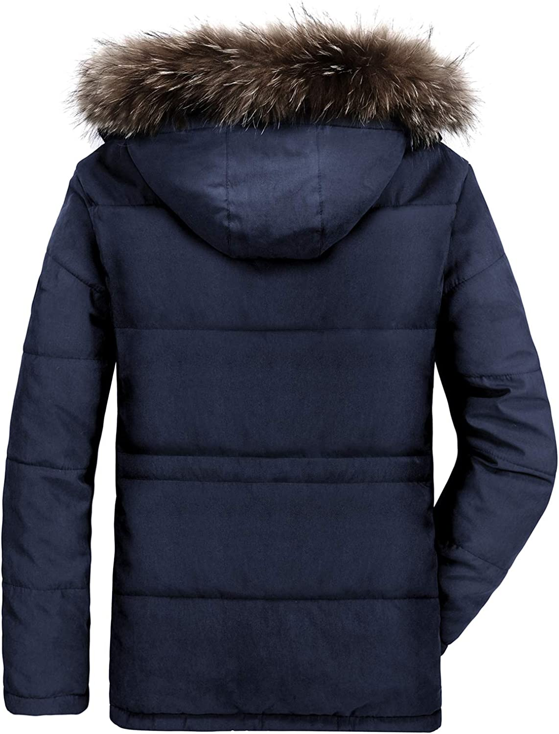 ELETOP Mens Coat Thicken Winter Warmth Jacket with Fur Hood Casual Outwear Coat