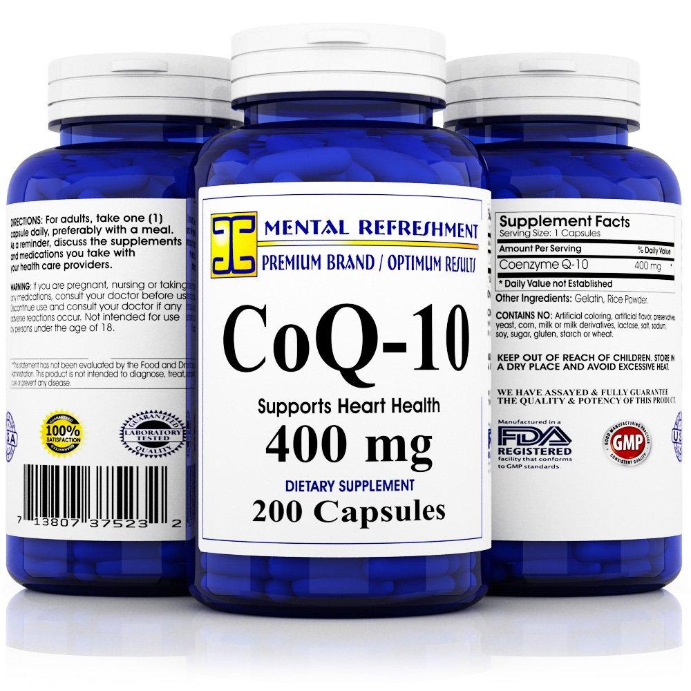 Mental Refreshment: Pure CoQ10 400Mg 200 Capsules (1 Bottle)