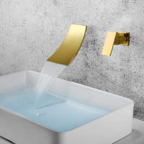 Dr Faucet Waterfall Faucet Bathtub Tub Faucet Wall Mount 2 Hole Bathroom Faucet Single Handle Bathtub Spout Mixer, Ti-Gold Finished