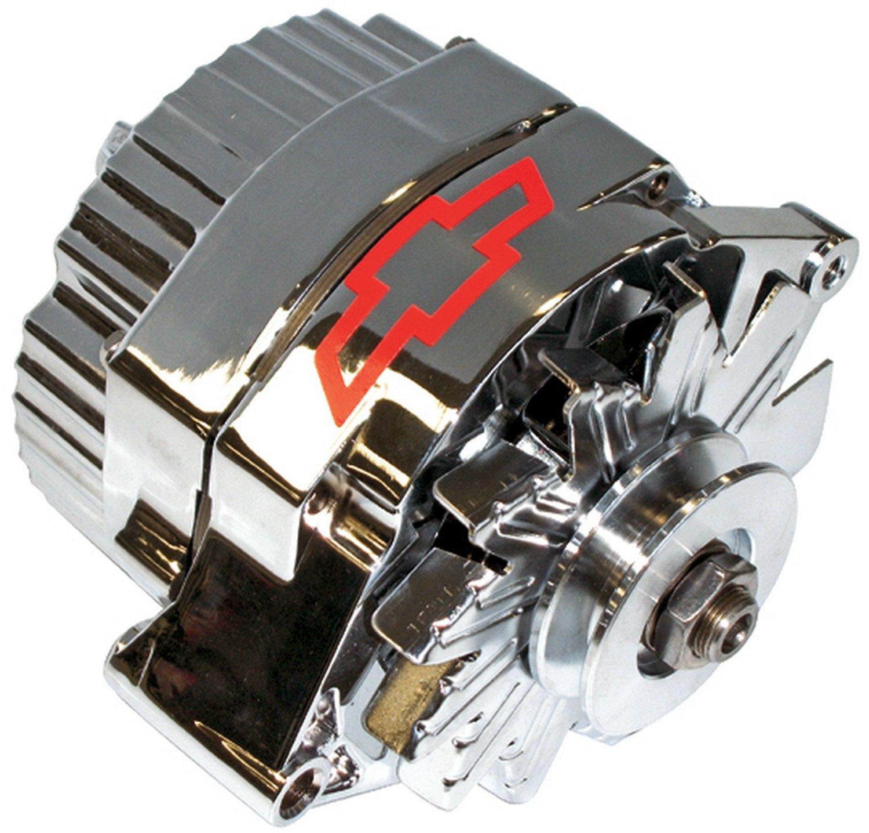 ProForm 141-657 GM Chrome w/ Red Bowtie 100 Amp 1-Wire Alternator with Internal Regulator 141-659