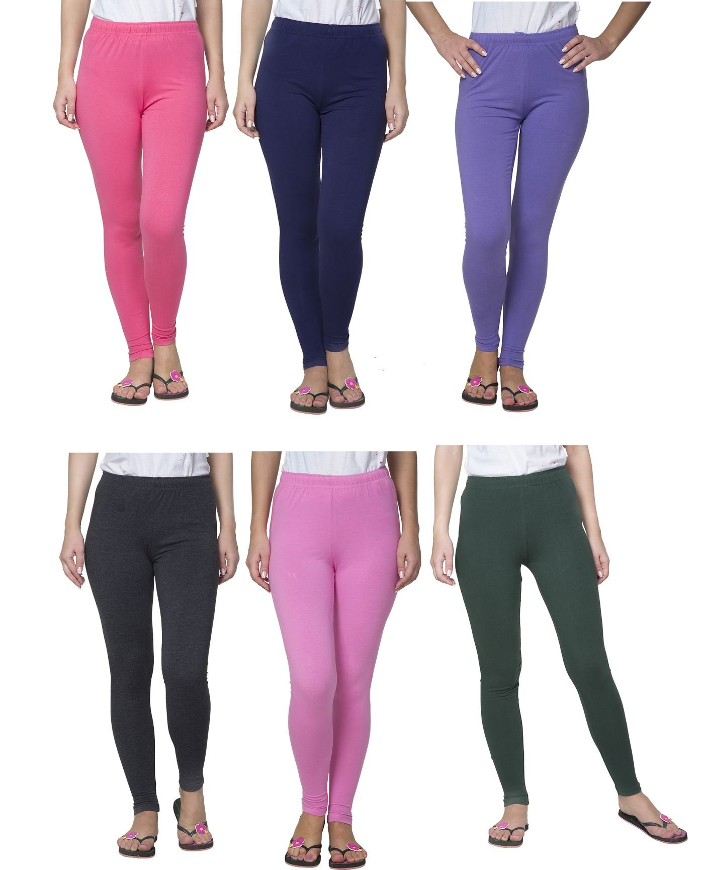 Clifton Women's Cotton Spandex Fine Jersey Leggings Pack Of 6-Assorted-2-5XL