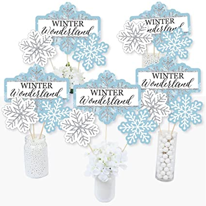 Remarkable Big Dot Of Happiness Winter Wonderland Snowflake Holiday Party And Winter Wedding Party Centerpiece Sticks Table Toppers Set Of 15 Home Interior And Landscaping Mentranervesignezvosmurscom