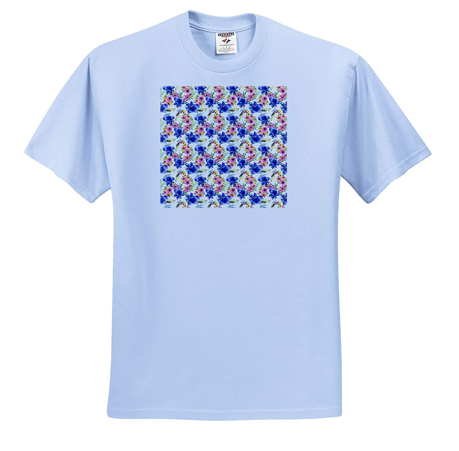 Pattern of red Flowers and Blue Irises on White Background 3dRose Alexis Design T-Shirts Pattern Floral Iris
