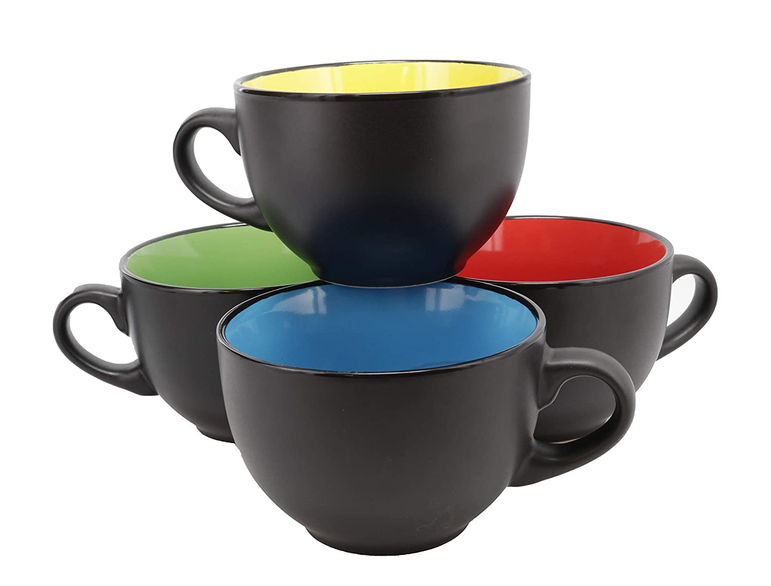Jumbo Soup Bowl and Cereal Mugs Wide Ceramic Mug Set of 4, 24 Ounce, Matte Black